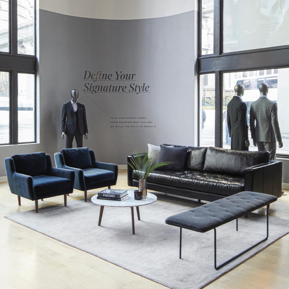 (R to L) Sven Sofa, Level Bench, Crush Rug, Mara Coffee Table, Matrix Chairs at Indochino, Seattle.