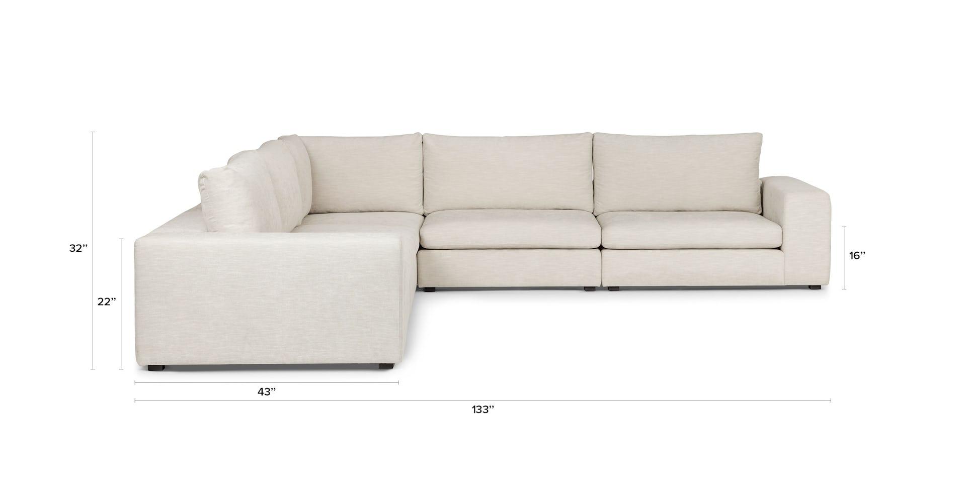 Gaba Pearl White Corner Modular Sectional