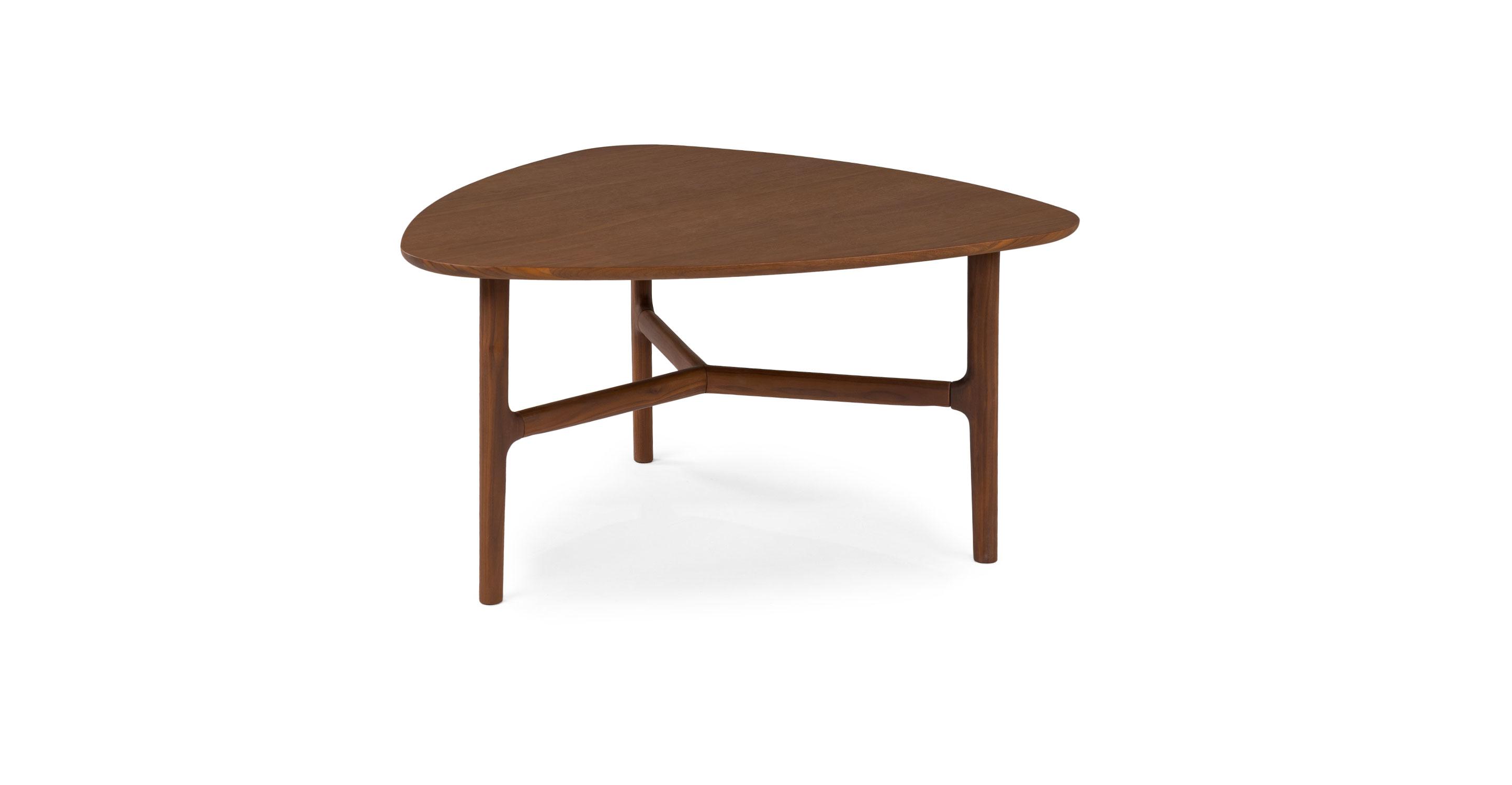 - Matte Walnut Brezza Triangular Coffee Table Article