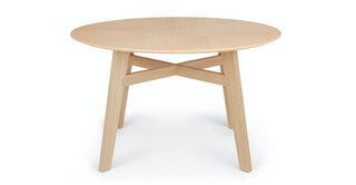 Light Oak Round 6 Person Wood Dining Table Ventu Article
