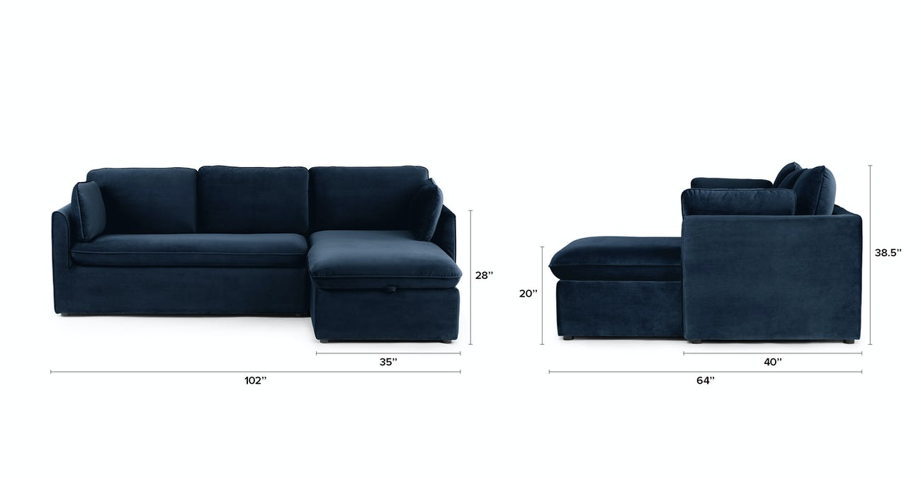 Oneira Tidal Blue Right Sofa Bed