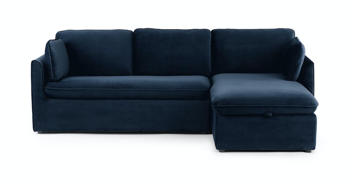 Tidal Blue Oneira Right Facing Velvet Sofa Bed   Article