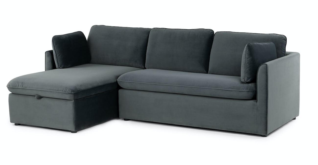 Oneira Deep Sea Blue Left Sofa Bed