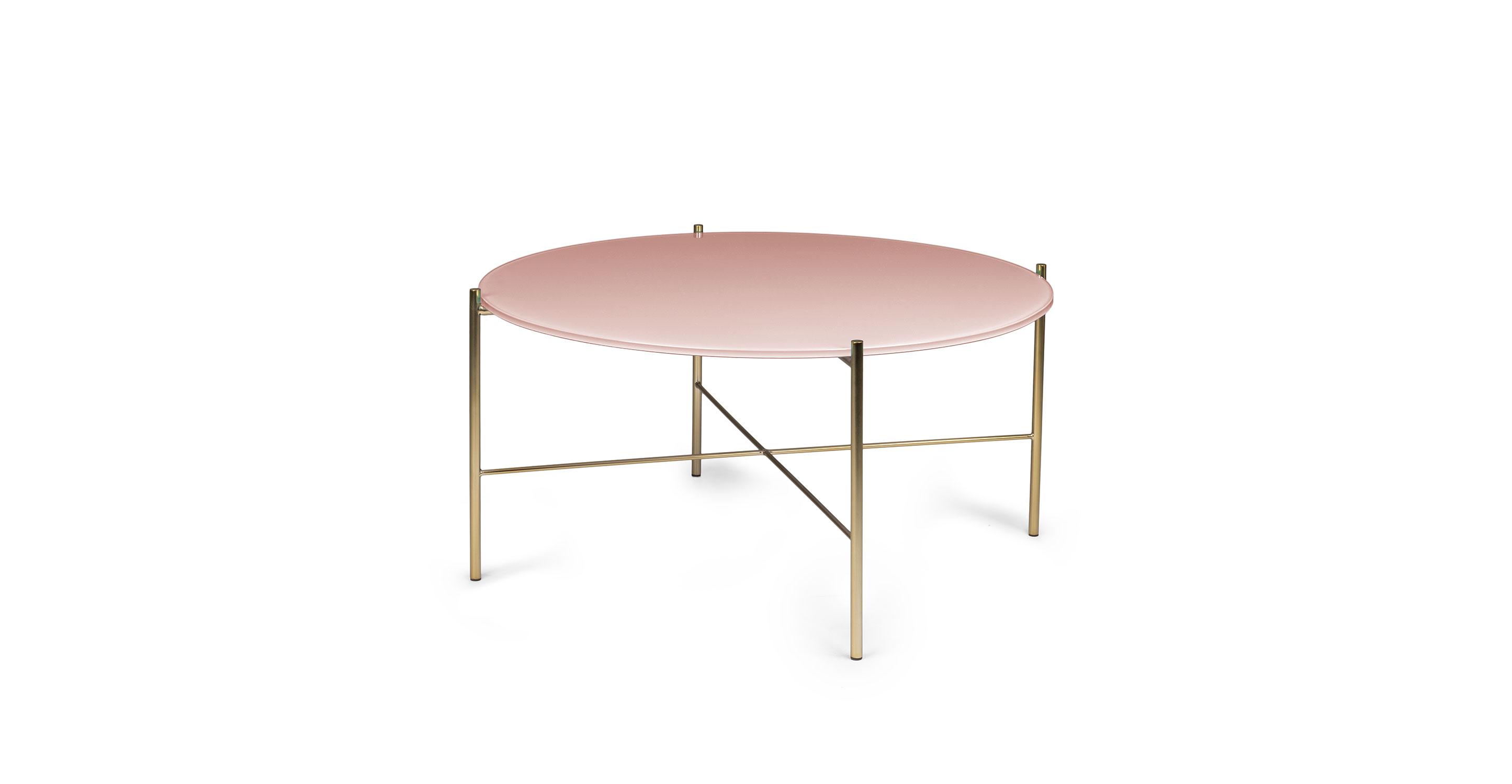 - Pink Silicus Round Glass Coffee Table Article