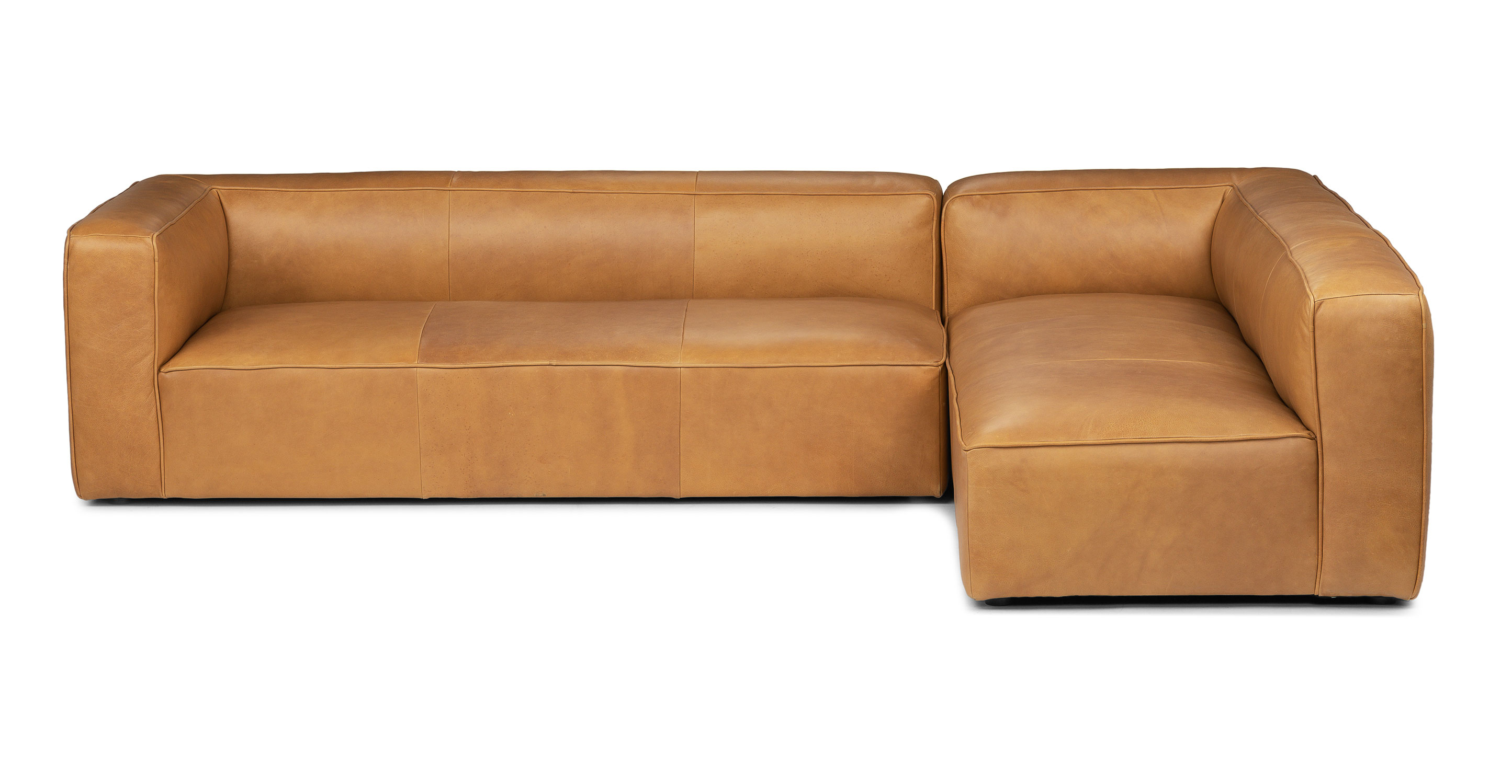 Right Facing Taos Tan Leather Sectional Sofa Mello Article