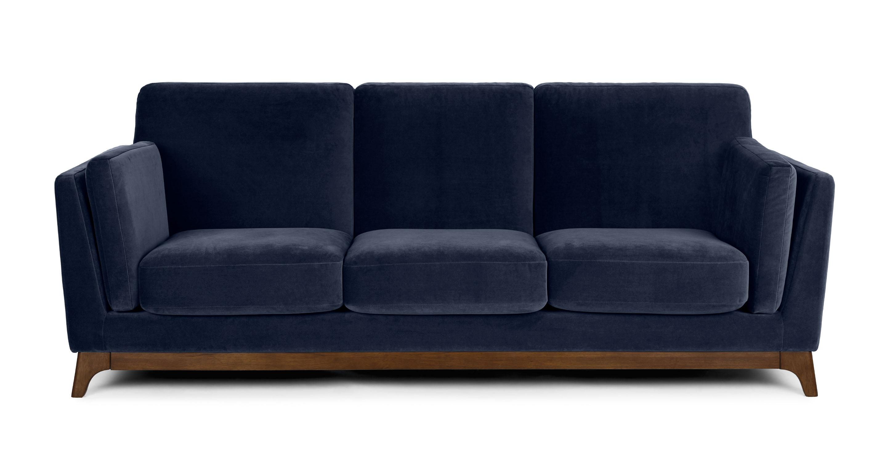 Picture of: Maren Blue Ceni 3 Seater Velvet Sofa Article