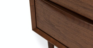 Black Walnut Wood Nightstand W 2 Drawers Lenia Article