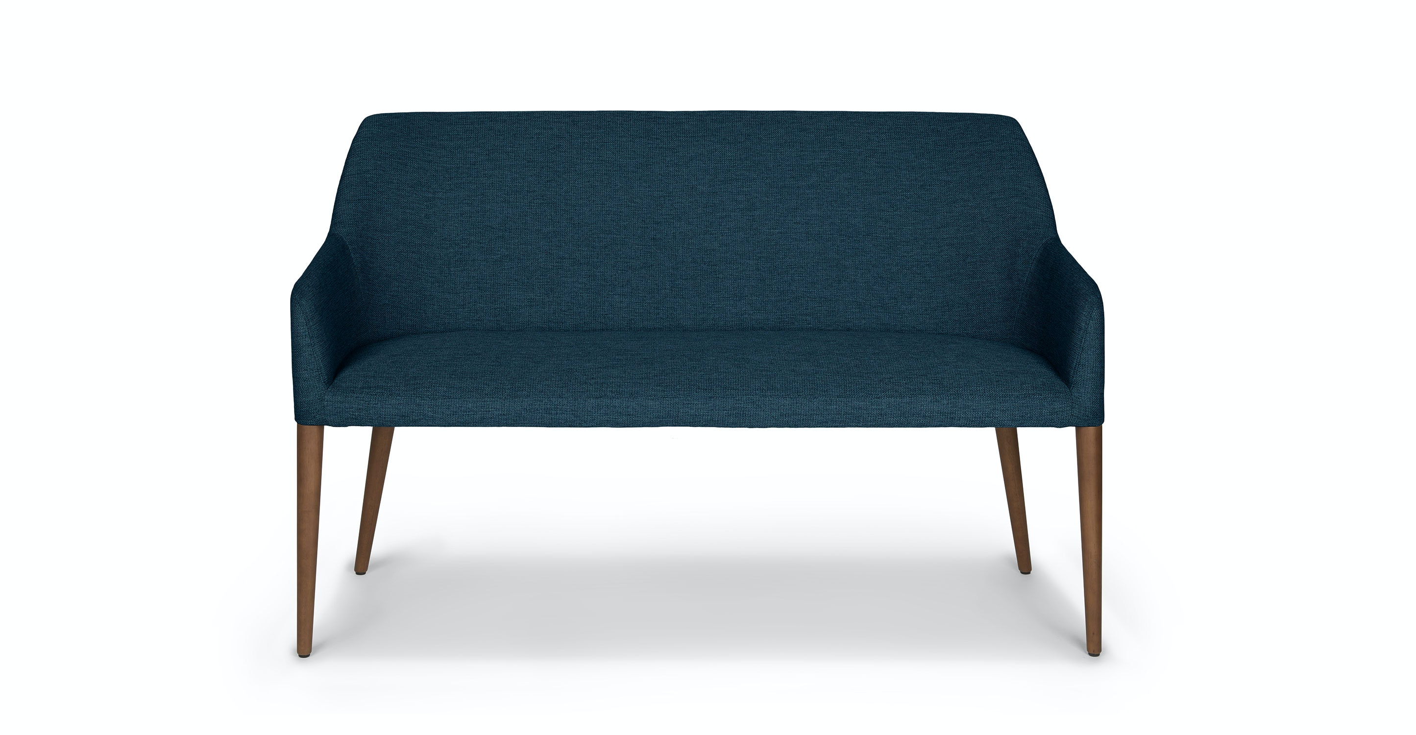 Pleasant Blue Fabric Dining Bench Solid Wood Legs Article Feast Modern Furniture Machost Co Dining Chair Design Ideas Machostcouk