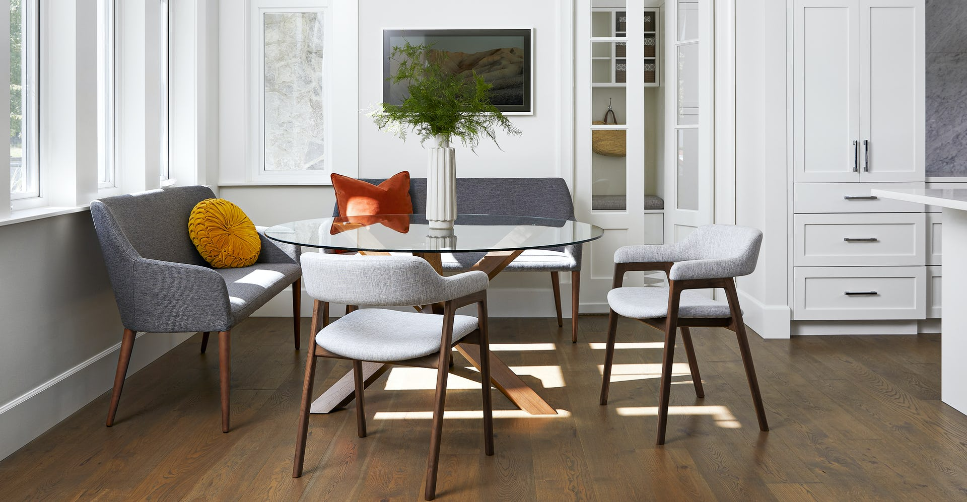 Sensational Feast Gravel Gray Dining Bench Gmtry Best Dining Table And Chair Ideas Images Gmtryco