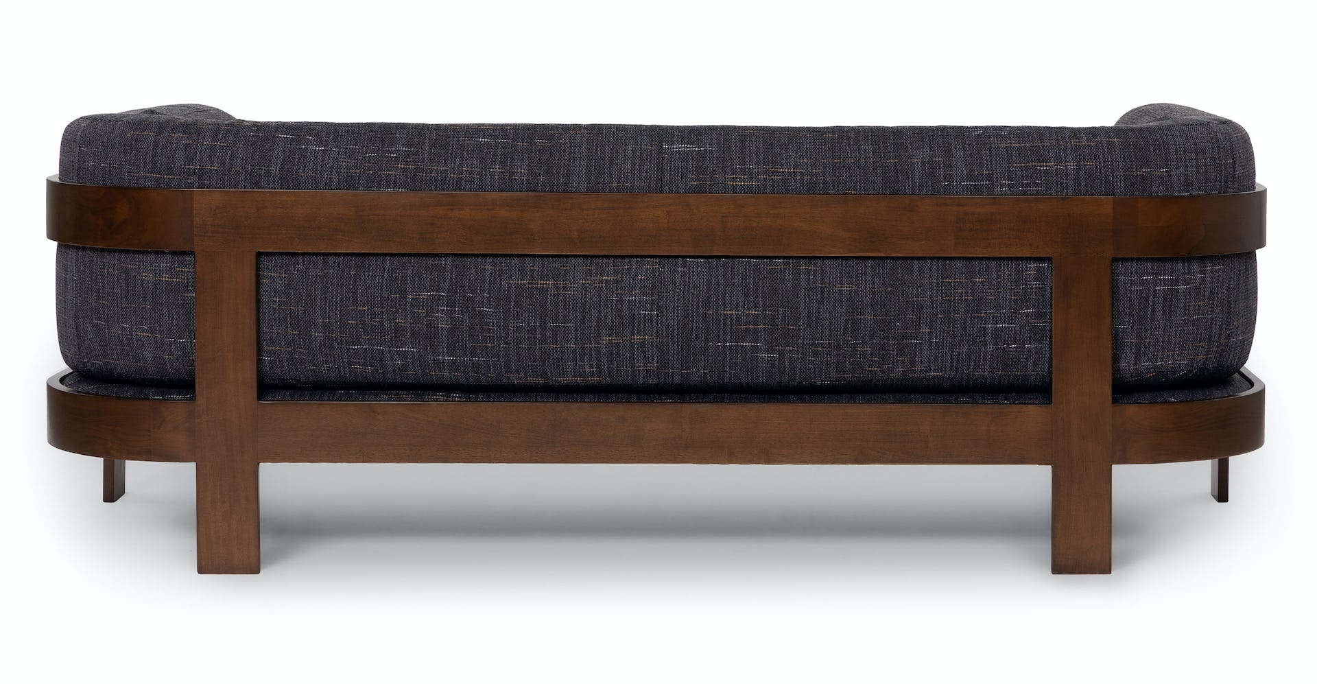 Comox Gray Rio Fabric Walnut Sofa Article