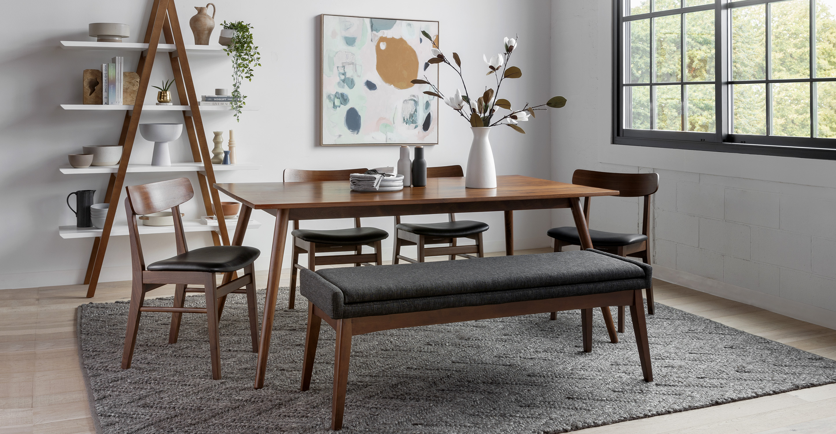 Black Leather Dining Chair, Walnut Dining Room