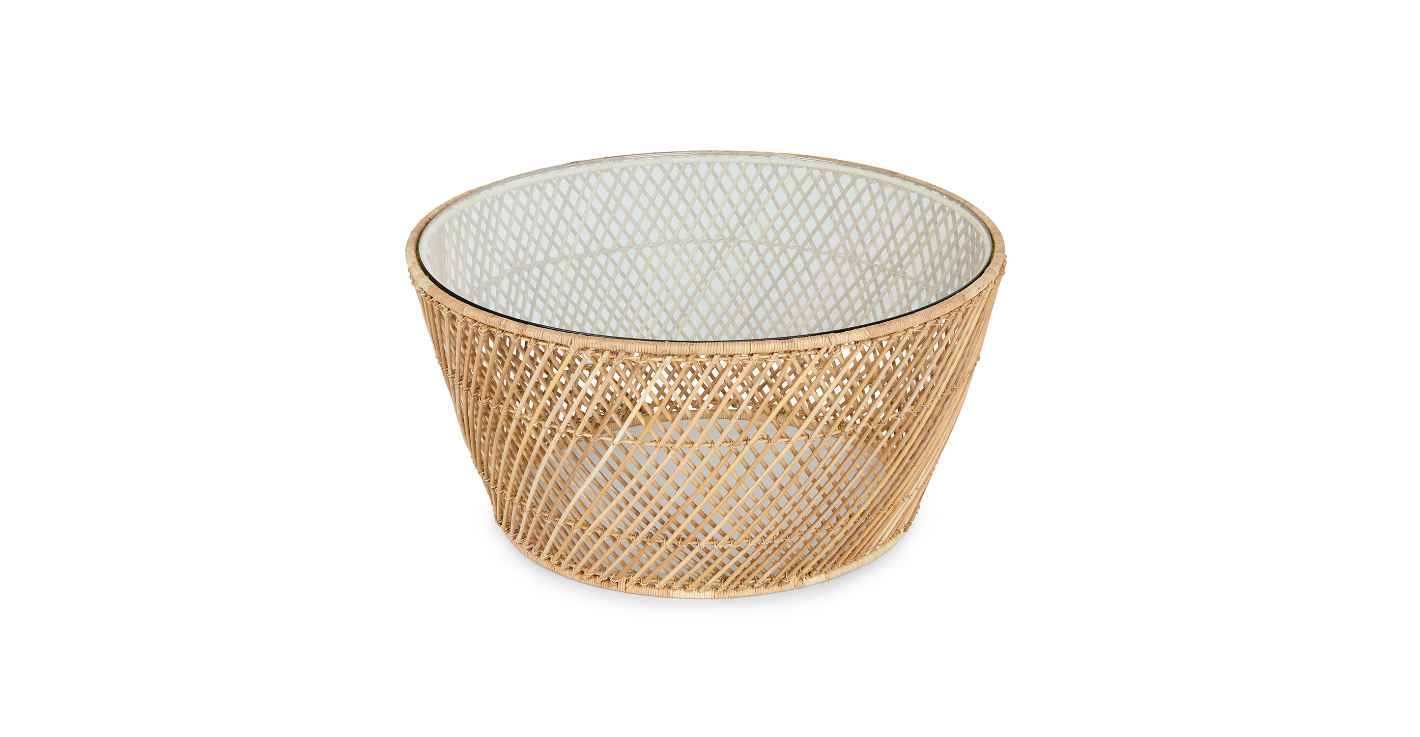 Natural Rattan Glass Side Table Catta Article