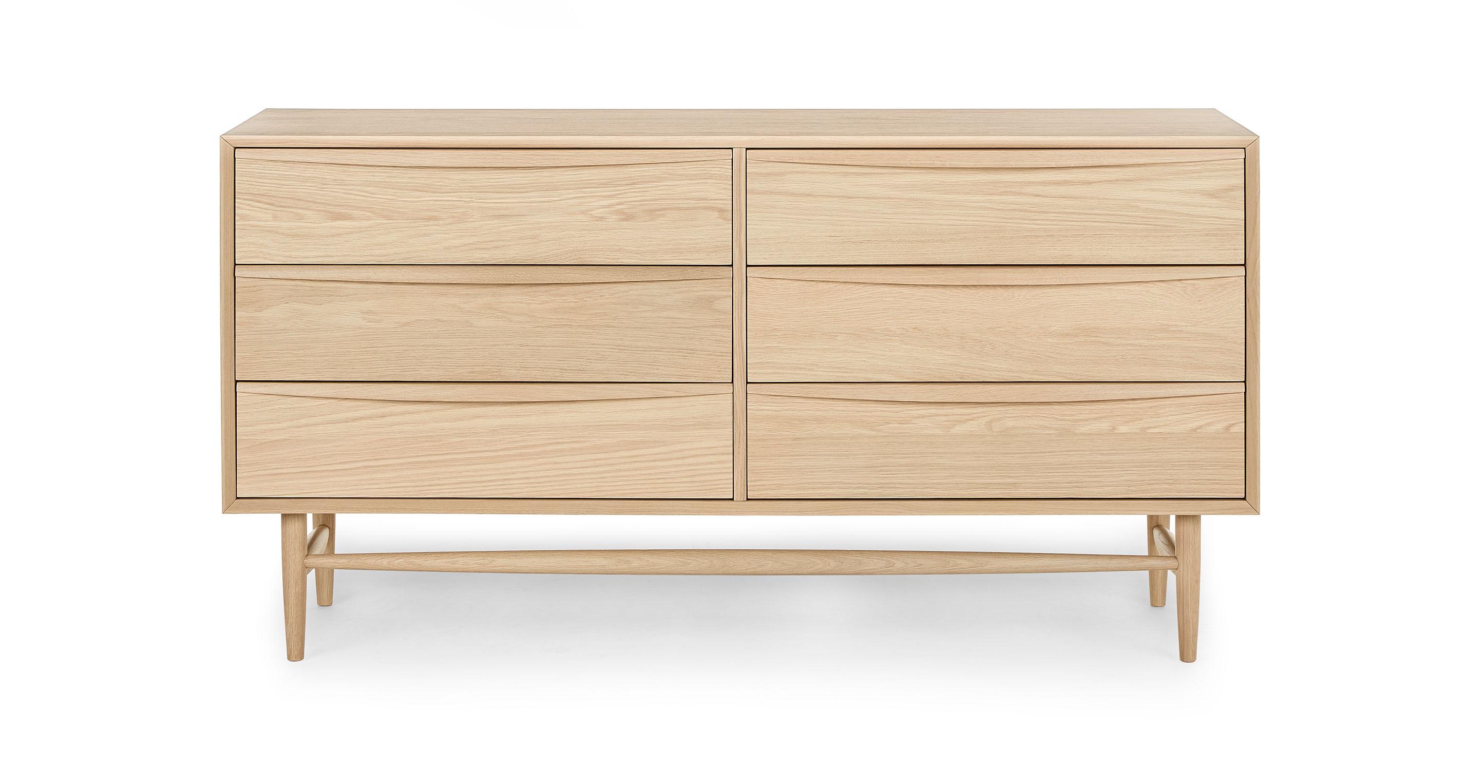 White Oak Wood Double Dresser W 6