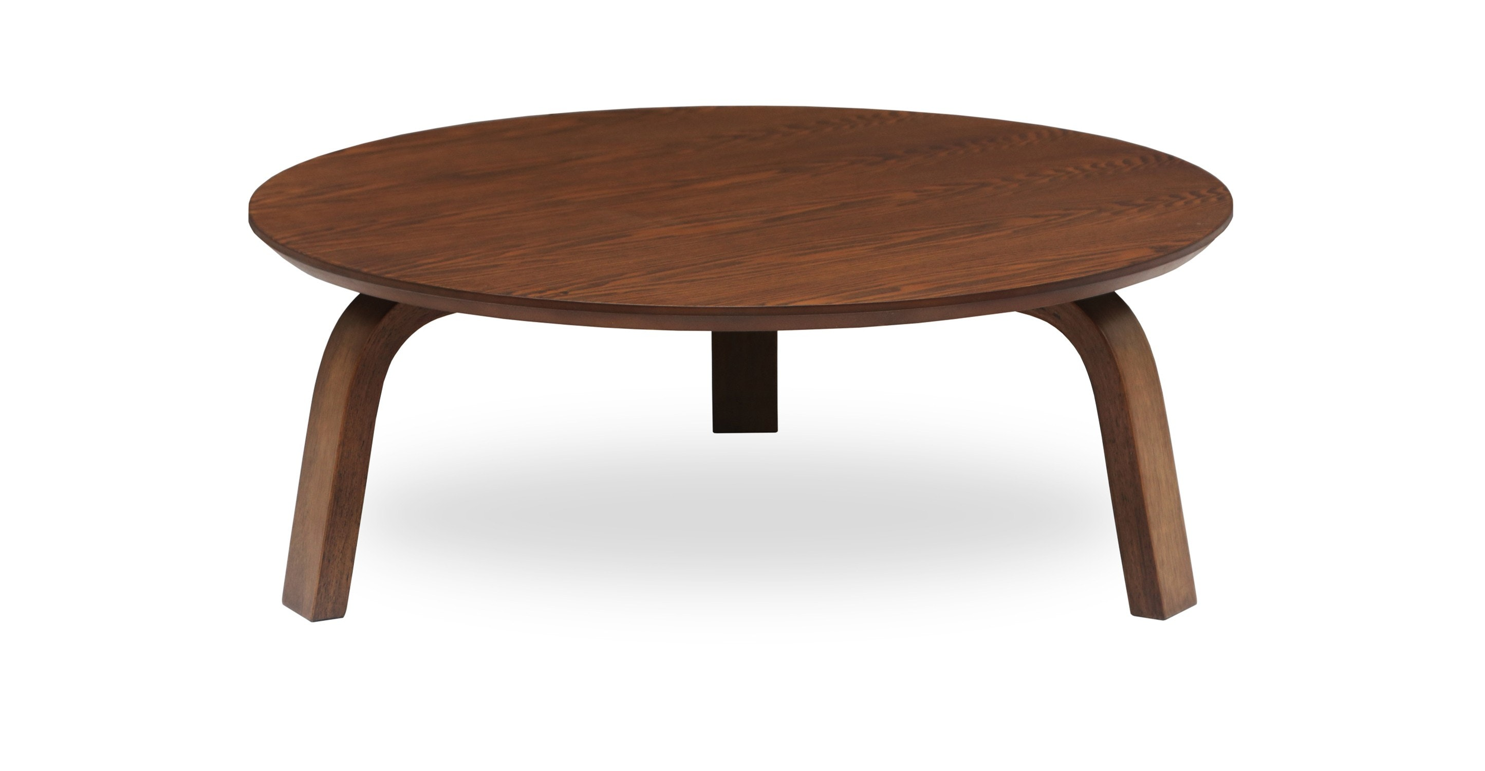 Round Contemporary Coffee Tables: Nes Cocoa Wood Round Coffee Table