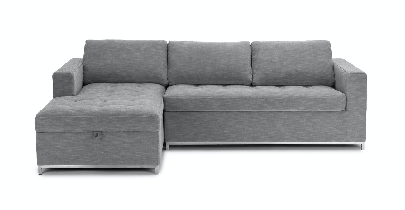 Gray Sofa Bed, Left Sectional, Metal Legs | Article Soma Modern Furniture