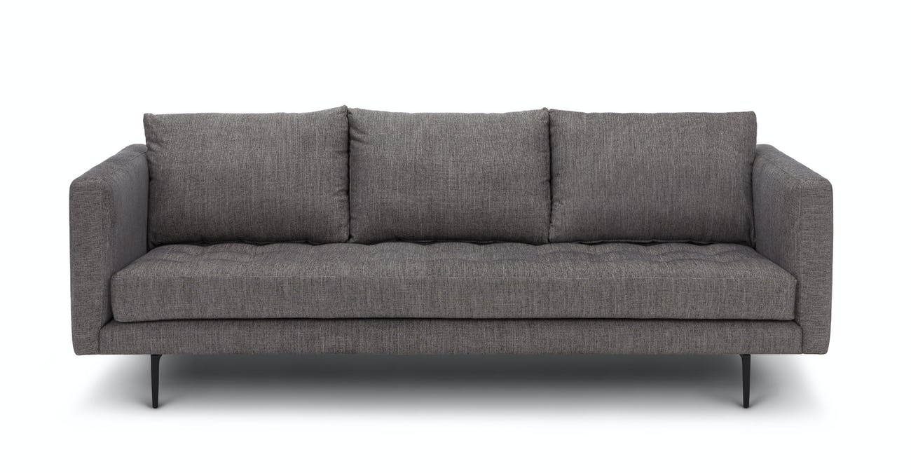 Black Tufted Sofa, 3 Seater, Metal Legs | Article Parker Modern Furniture