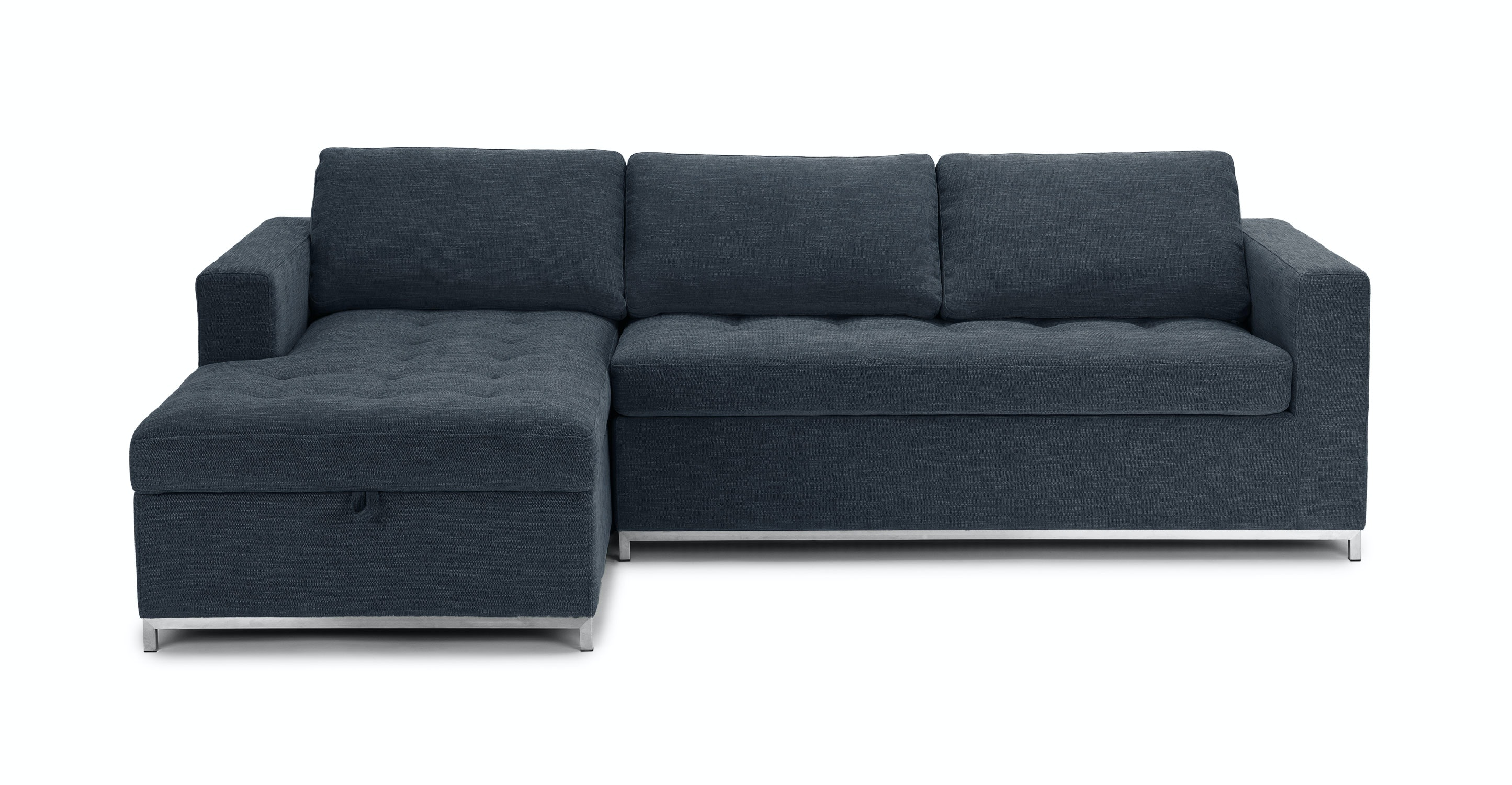 Dark Blue Sofa Bed Left Sectional Metal Legs Article Soma Modern Furniture