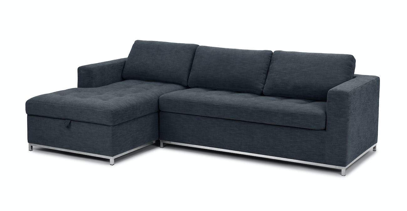 Dark Blue Sofa Bed, Left Sectional, Metal Legs | Article Soma Modern  Furniture
