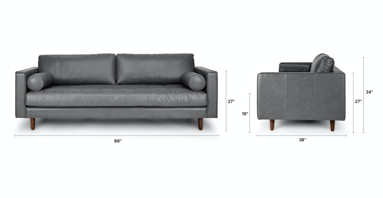 Gray Leather Sofa | Sven Oxford Gray Sofa | Article