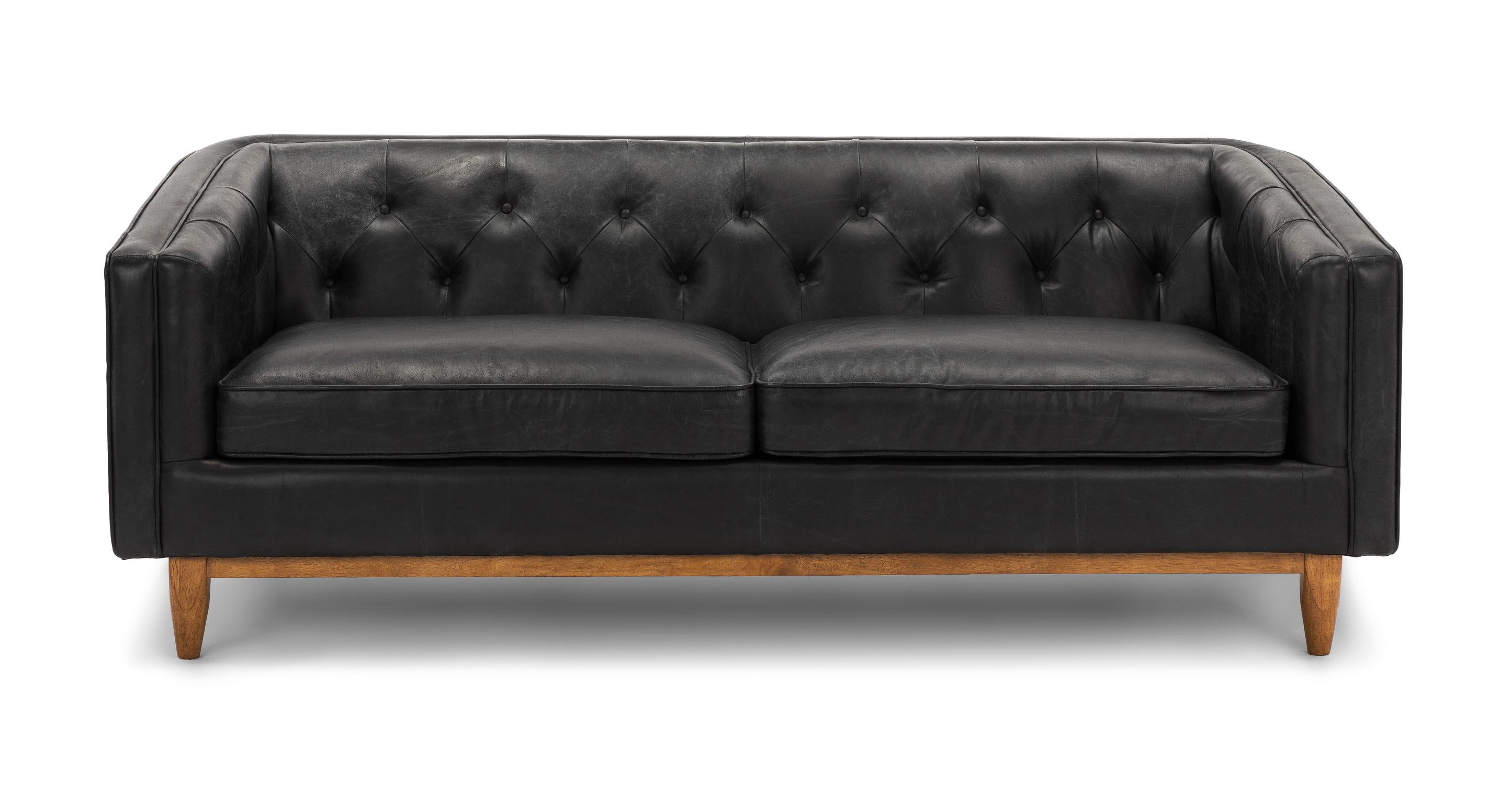 - Oxford Black Alcott 3 Seater Leather Sofa Article