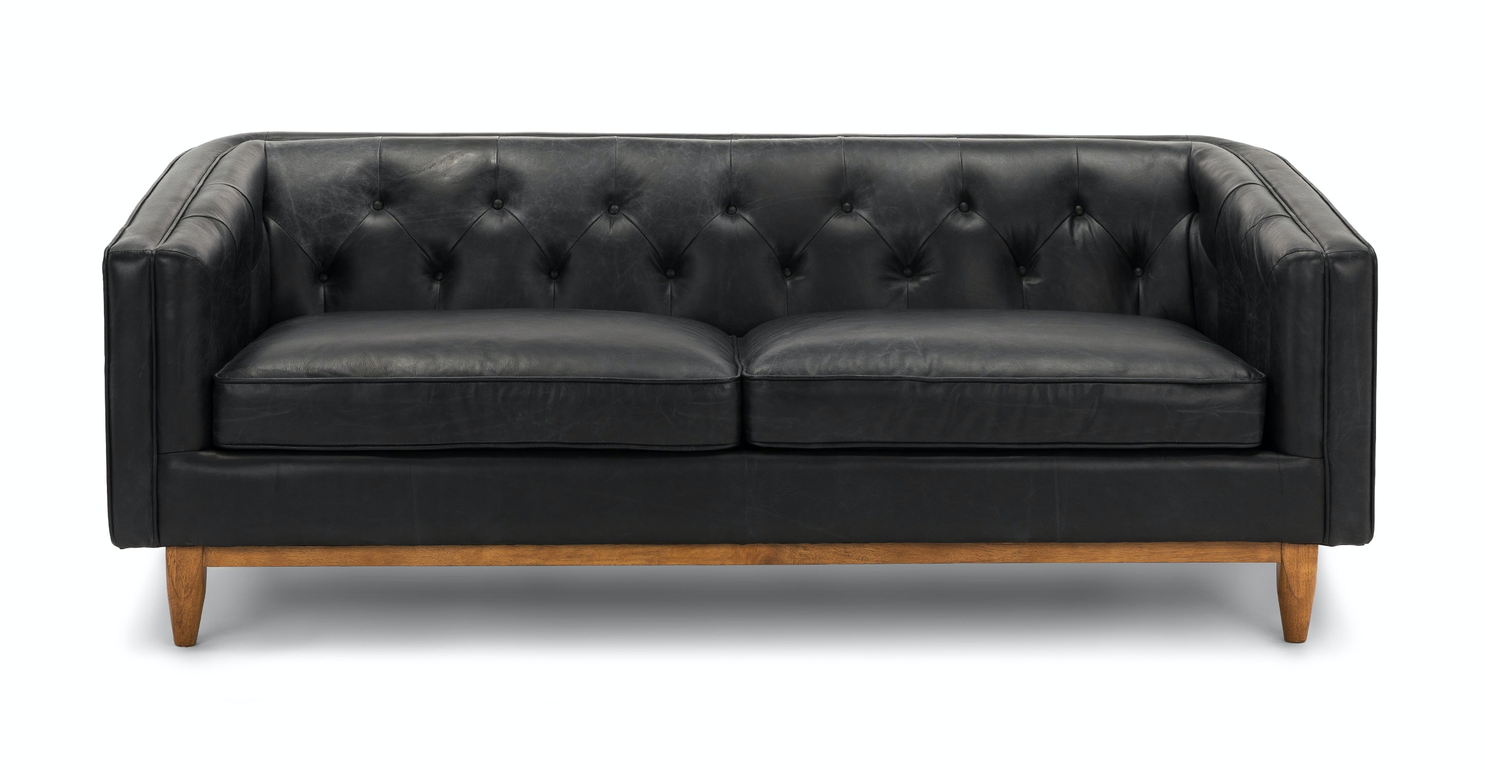 Black Leather Sofa | Alcott Oxford Black Sofa | Article