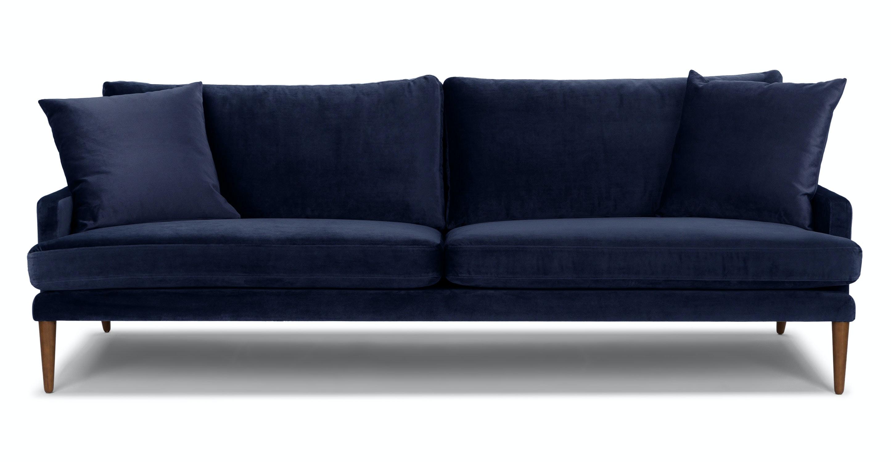 Blue Velvet Sofa, 3 Seater, Solid Wood Legs   Article Luxu Modern Furniture
