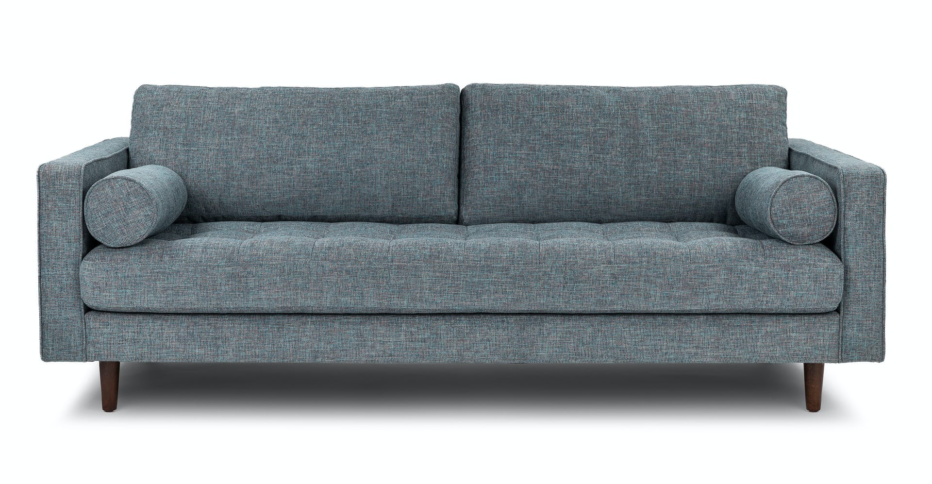 Aqua Tweed Sven Fabric Walnut 3 Seater