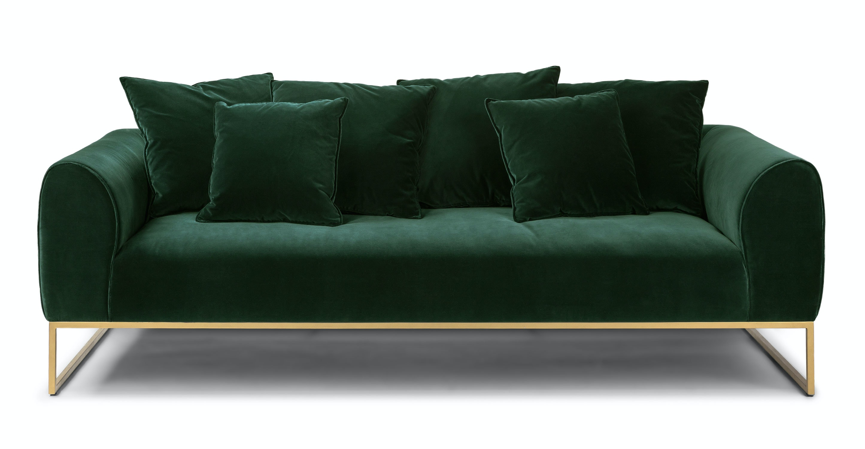 On a green sofa