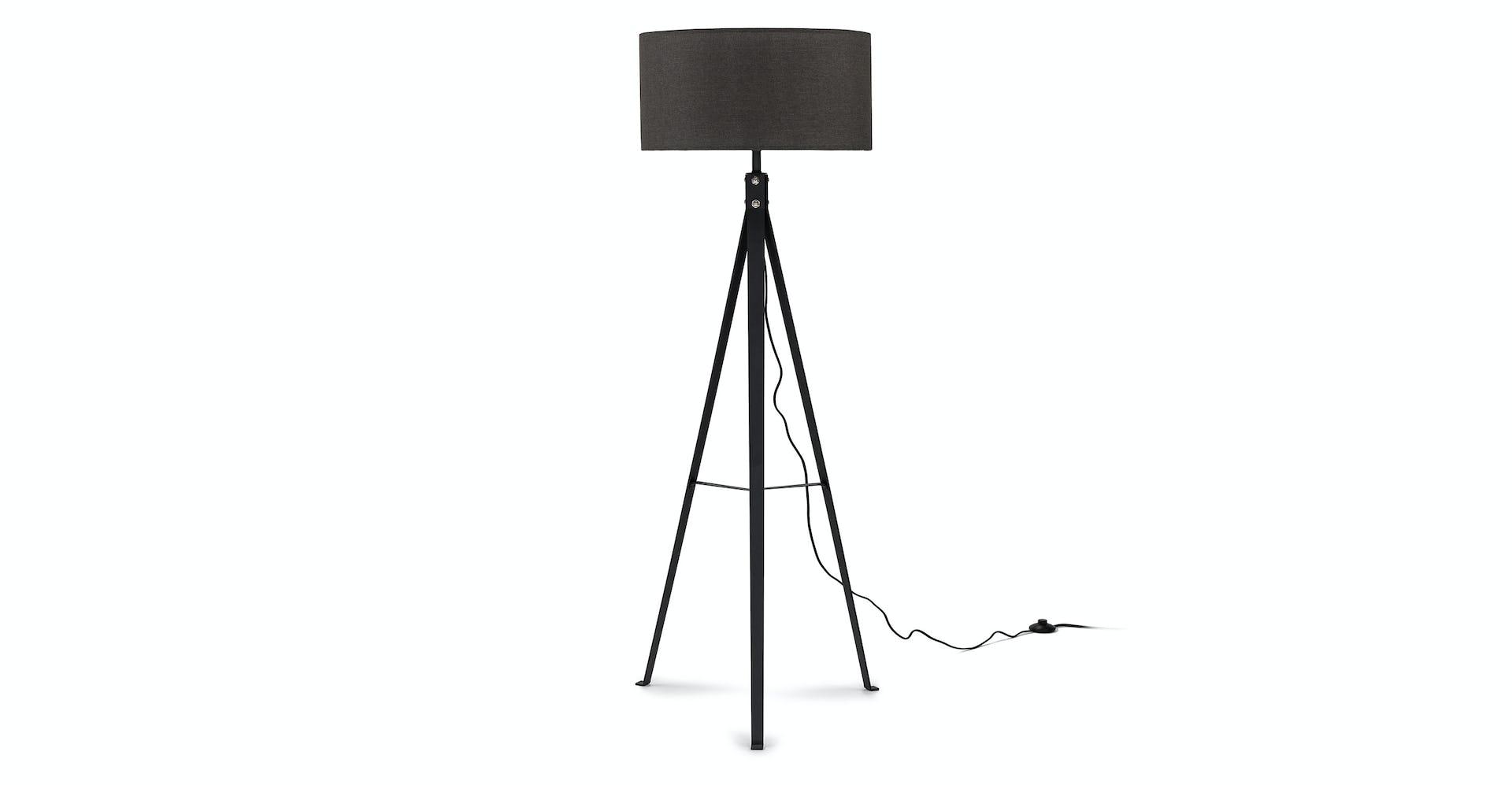 Black Treo Metal Fabric Floor Lamp