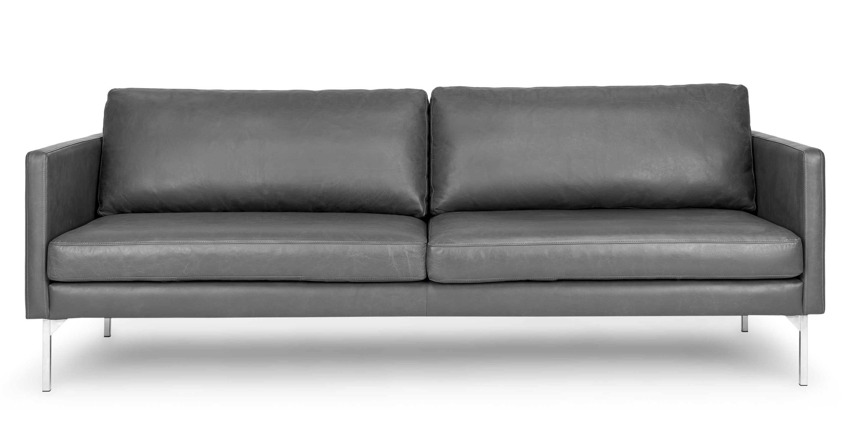 Gray Leather Sofa, 3 Seater, Steel Legs | Article Echo Contemporary  Furniture