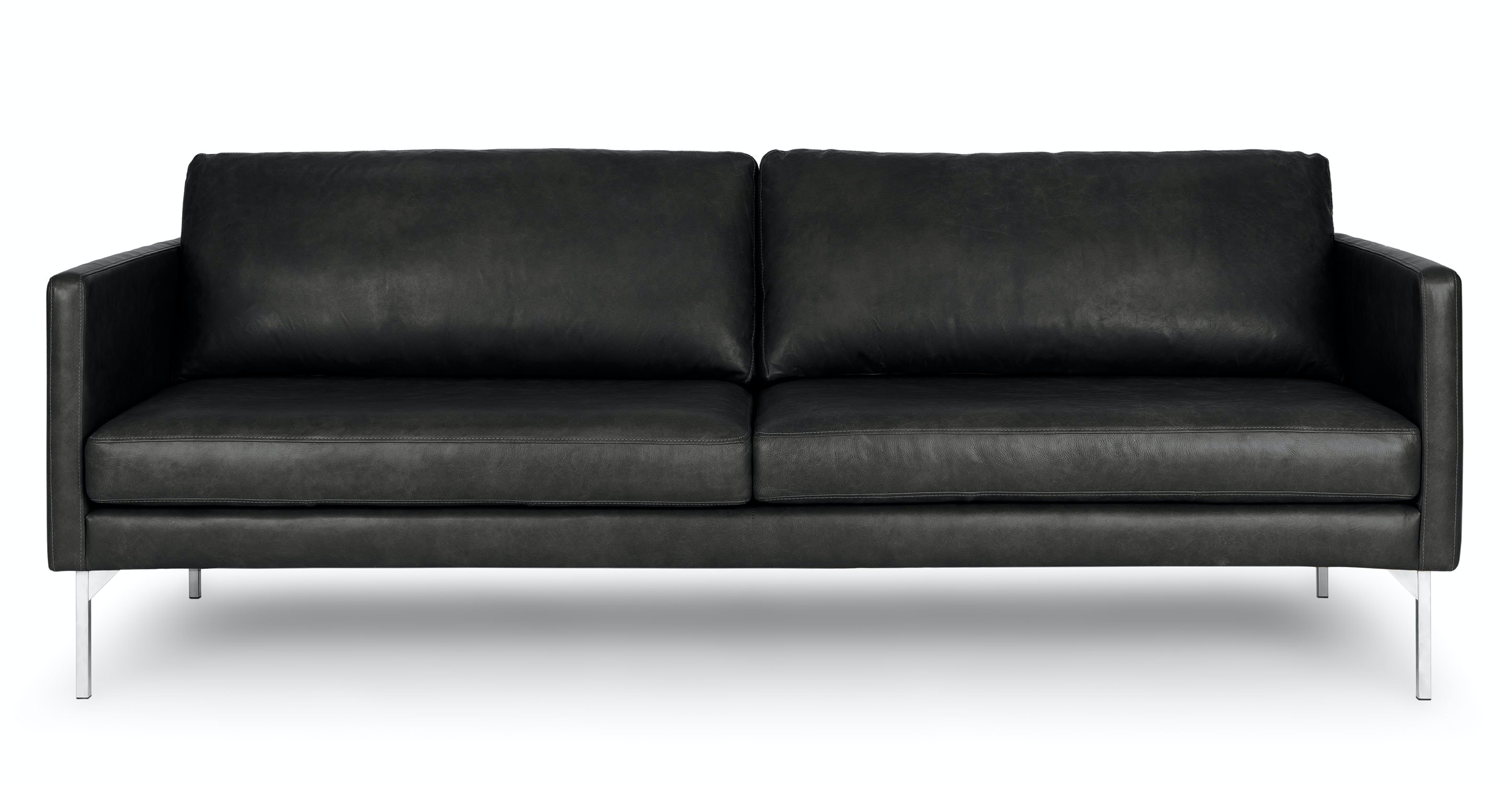 Black Leather Sofa, 3 Seater, Steel Legs | Article Echo Contemporary  Furniture