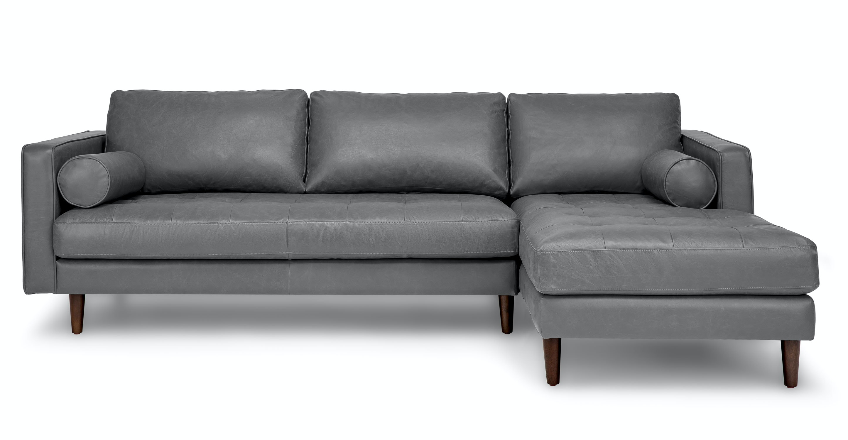 Gray Leather Sectional Sofa Upholstered Article Sven Modern Furniture