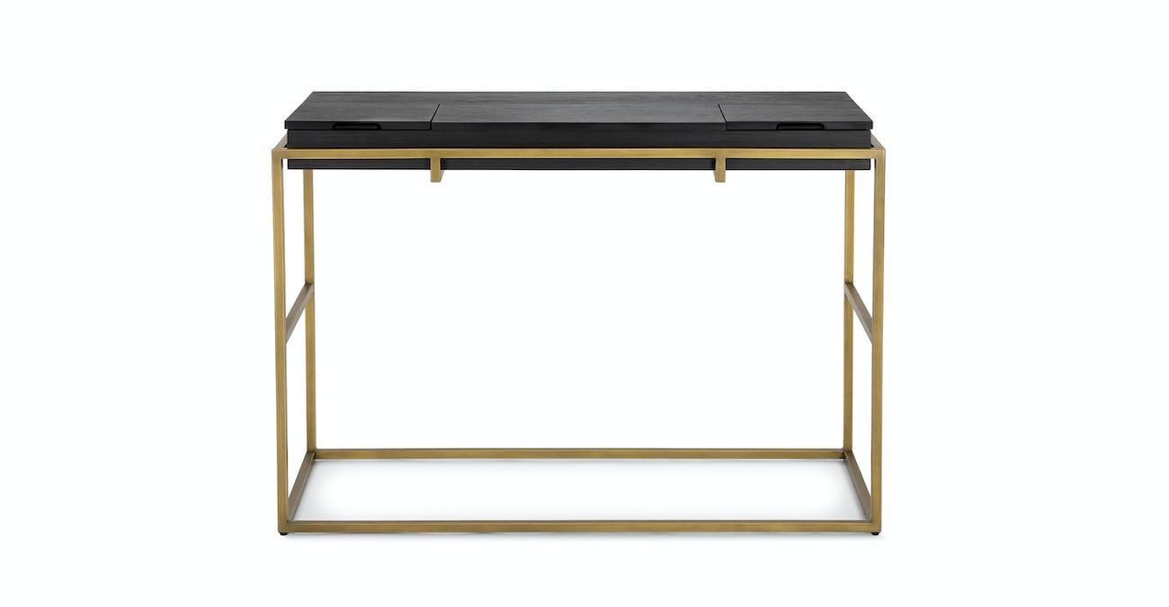 Black Storage Console, Bronze legs | Article Oscuro Modern Furniture