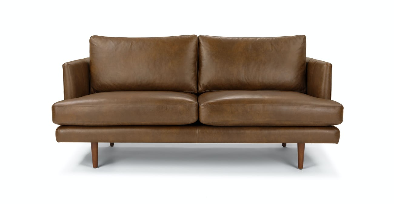 Surprising Tan Leather Loveseat Solid Wood Legs Article Burrard Modern Furniture Onthecornerstone Fun Painted Chair Ideas Images Onthecornerstoneorg