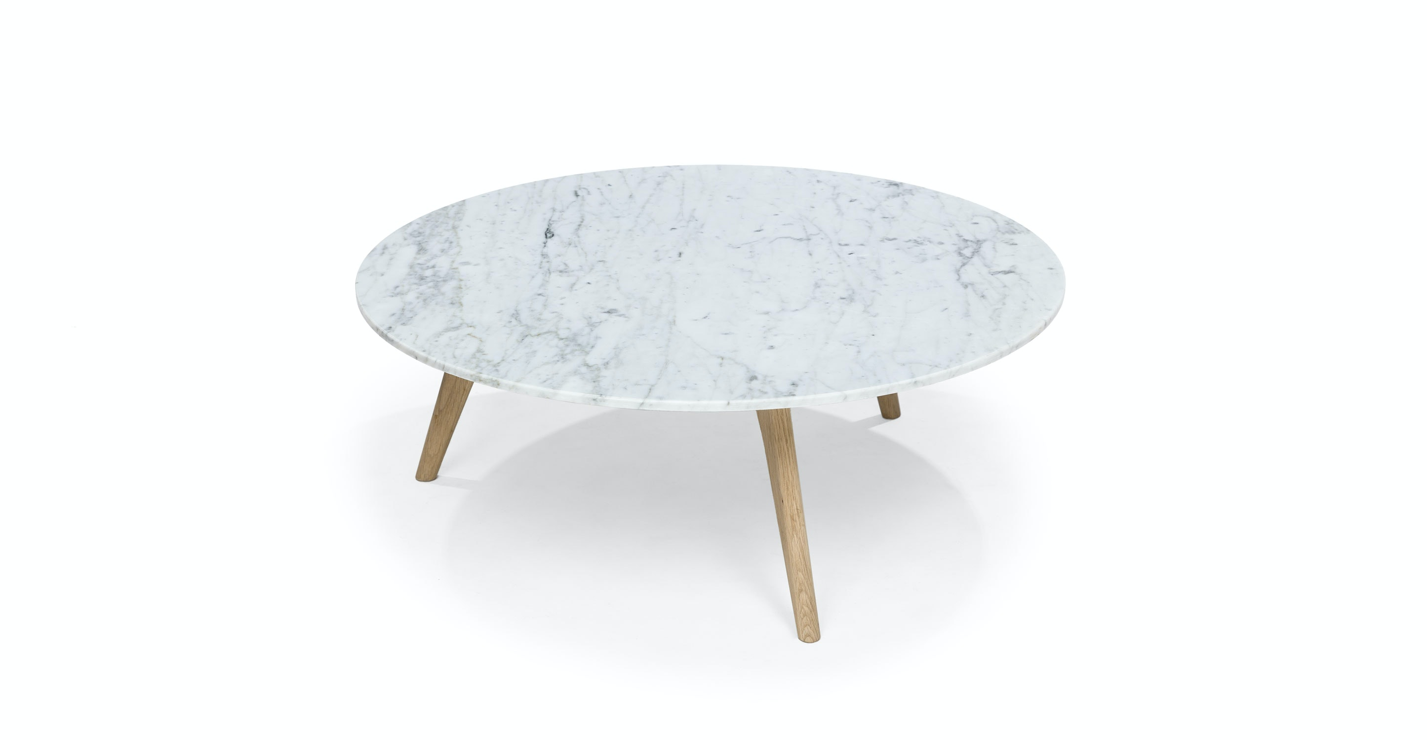 Round Marble Coffee Table Solid Oak Legs Article Mara Modern Furniture