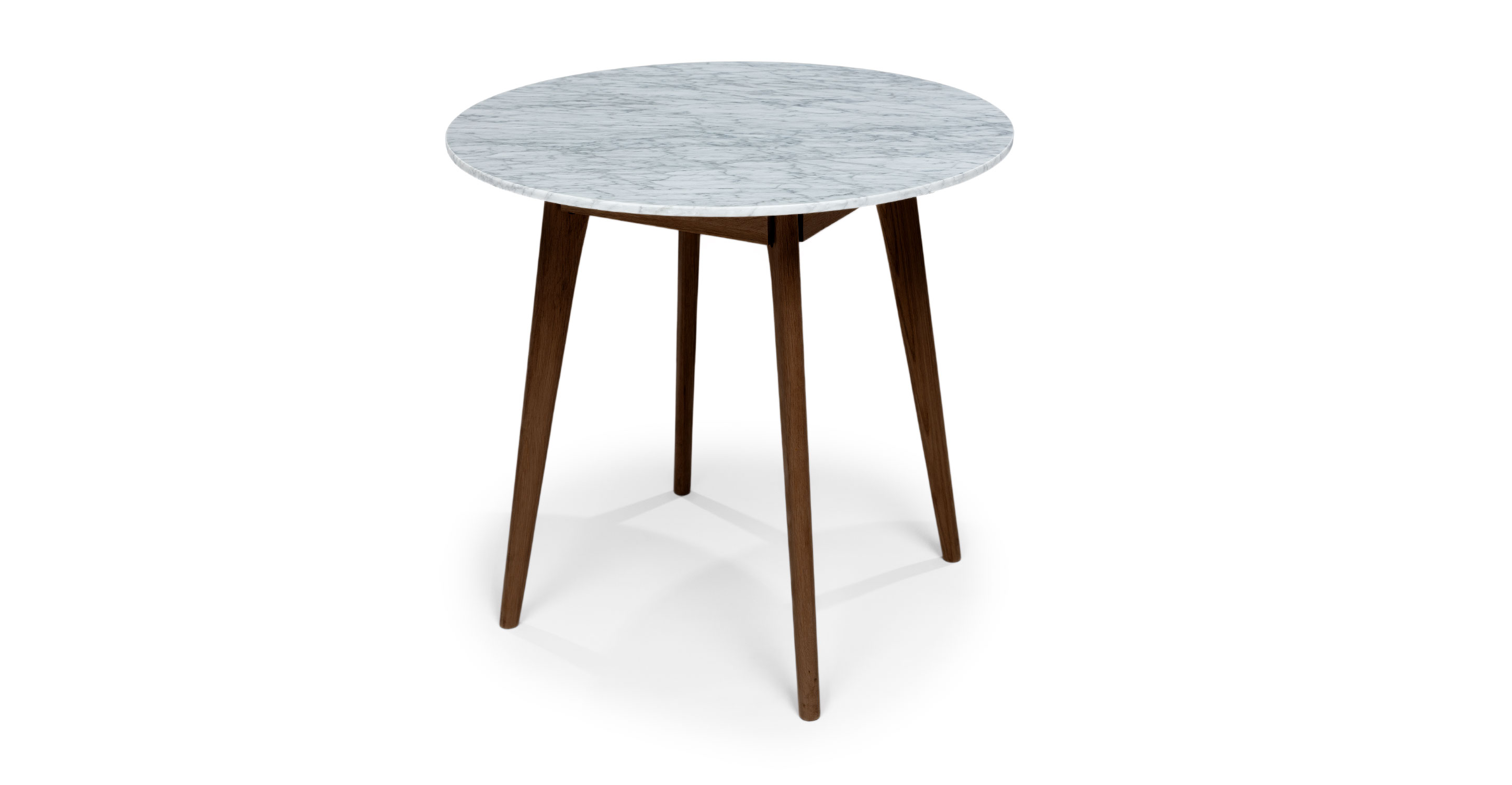 Stained Walnut Marble Round Cafe Table Mara Article