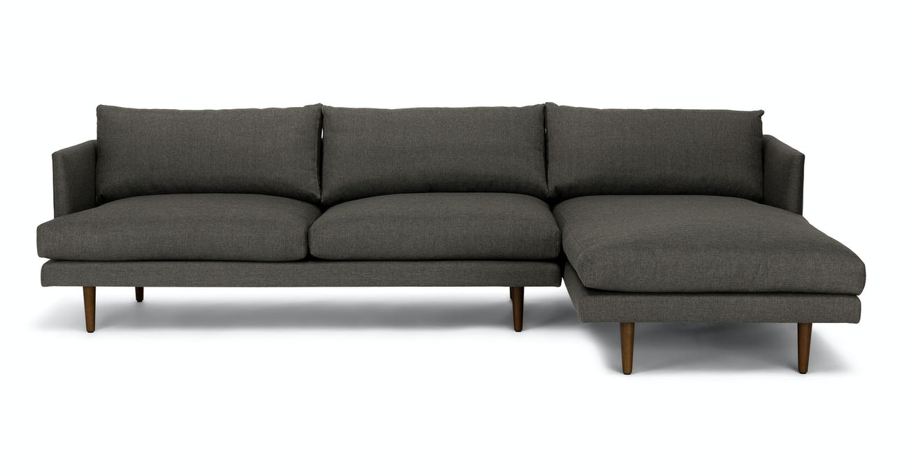 Dark Gray Right Sectional Sofa-Upholstered | Article Burrard Modern  Furniture