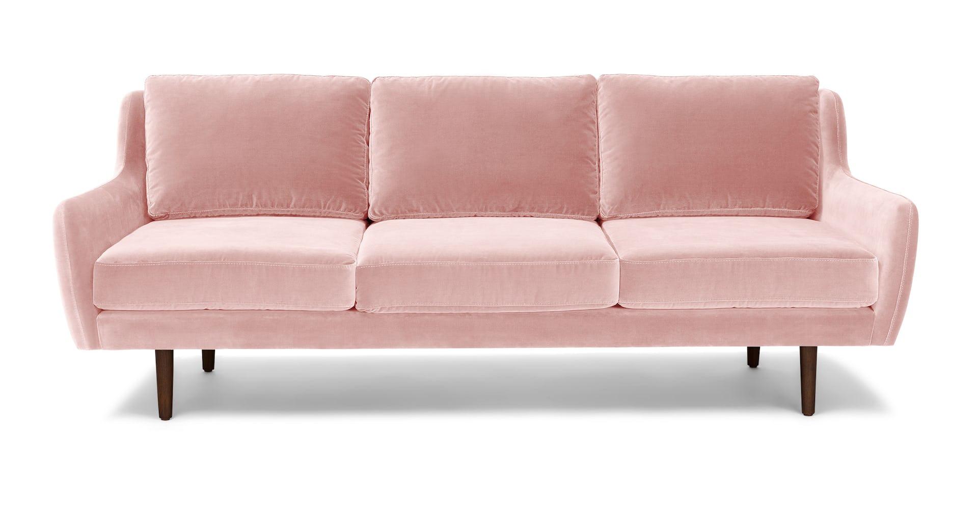 Blush Pink Matrix Velvet 3 Seater Sofa
