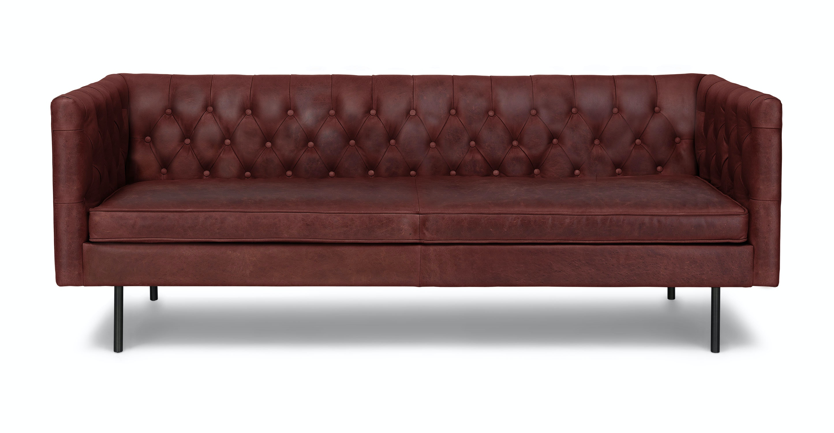 oxblood leather sofa modern chesterfield leather sofa 79 west elm thesofa. Black Bedroom Furniture Sets. Home Design Ideas