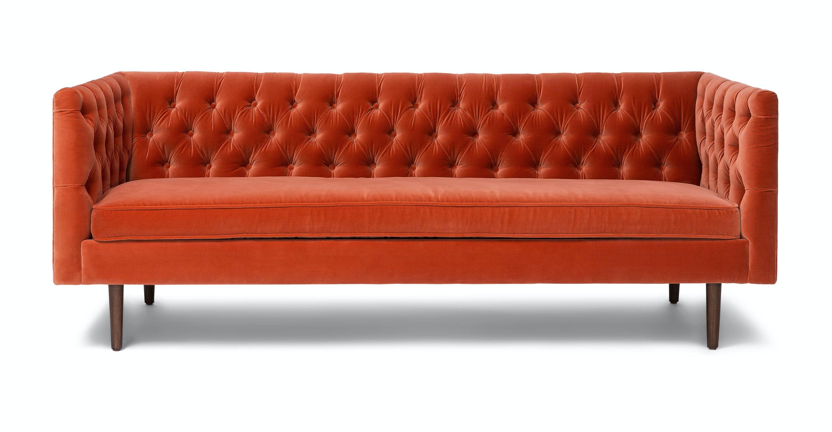 chester persimmon orange sofa sofas article modern mid rh article com orange leather sofa set leather sofa orange county